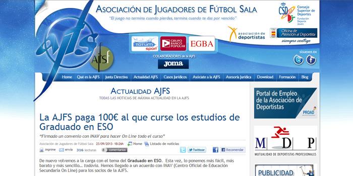 INAV firma un convenio con la AJFS para que sus socios obtengan el título oficial de graduado en ESO