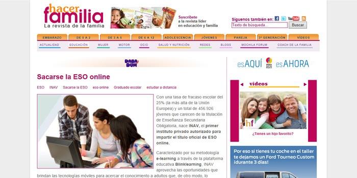 Hacer Familia expone cómo se obtiene el título de graduado en ESO vía online en INAV