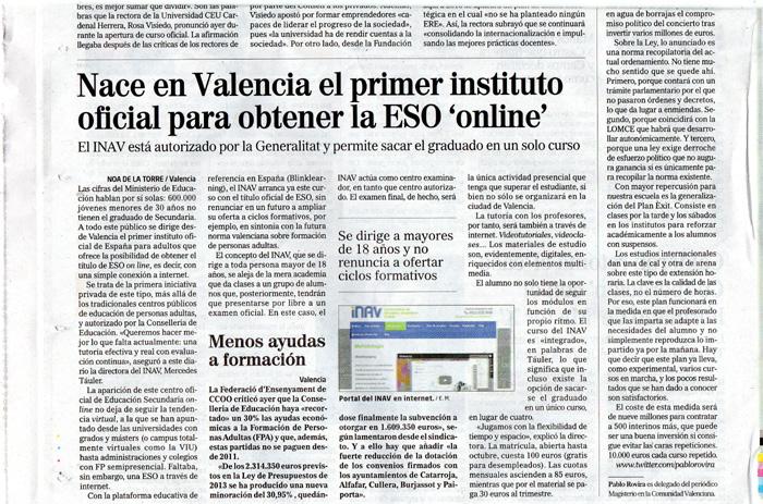 INAV en El Mundo de Valencia, como centro oficial para obtener el graduado en ESO vía online